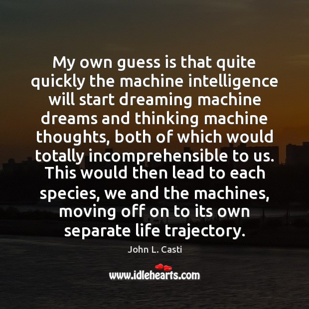 My own guess is that quite quickly the machine intelligence will start John L. Casti Picture Quote