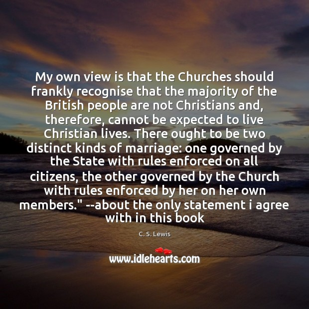 My own view is that the Churches should frankly recognise that the C. S. Lewis Picture Quote