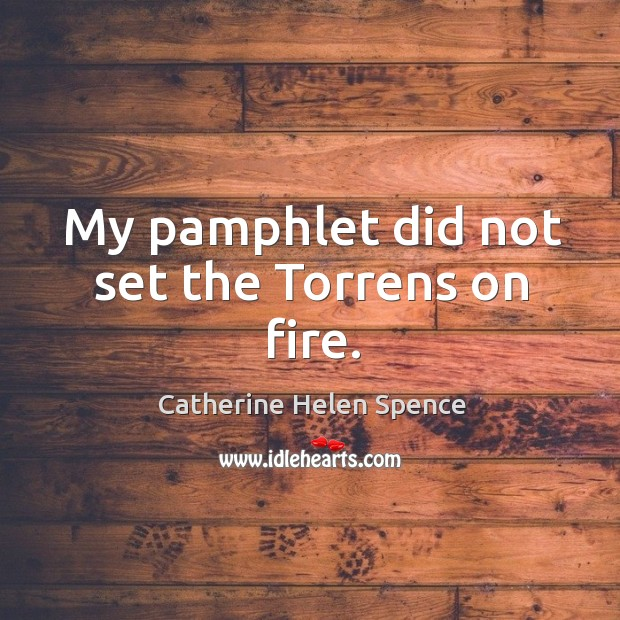 My pamphlet did not set the torrens on fire. Catherine Helen Spence Picture Quote
