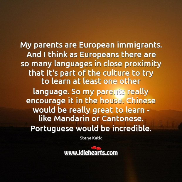 Image, My parents are European immigrants. And I think as Europeans there are