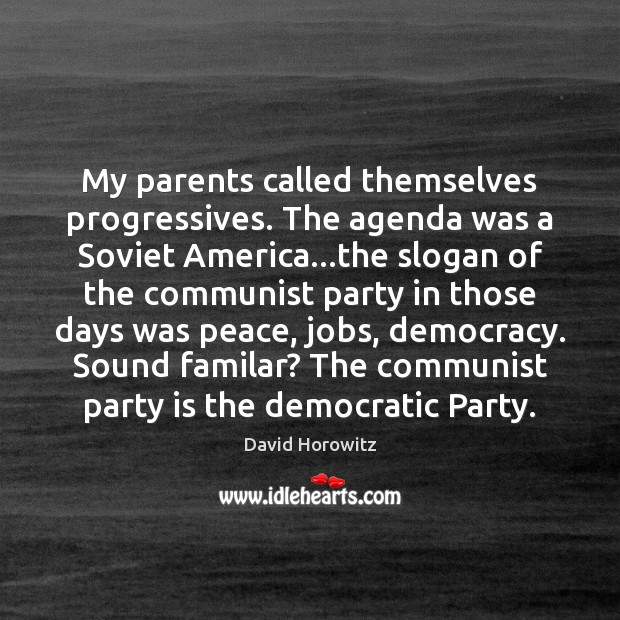 My parents called themselves progressives. The agenda was a Soviet America…the Image