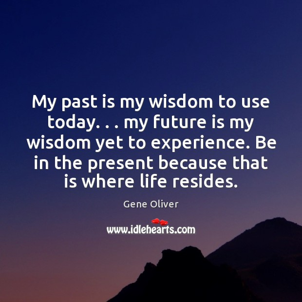 My past is my wisdom to use today. . . my future is my Image