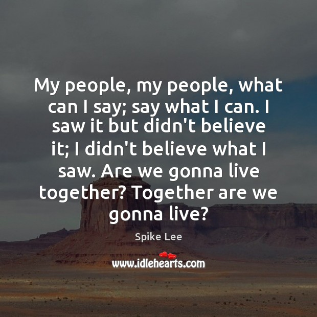 My people, my people, what can I say; say what I can. Spike Lee Picture Quote