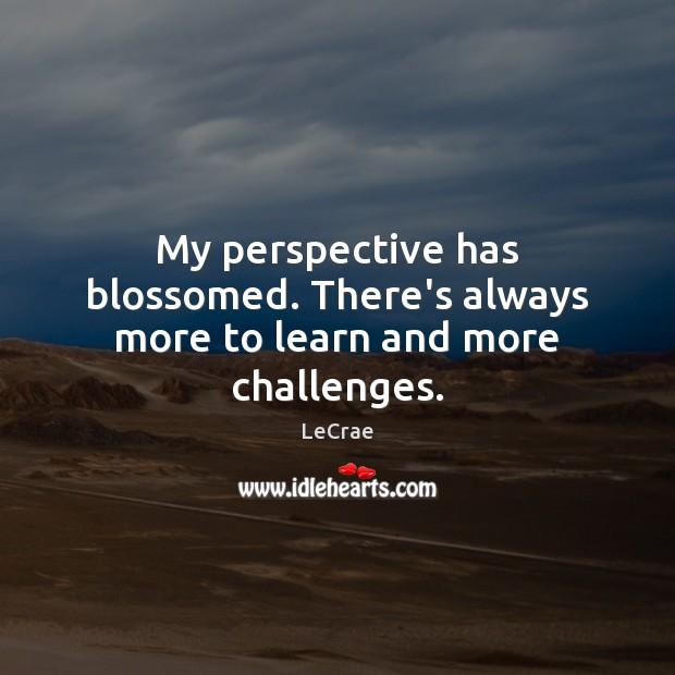 My perspective has blossomed. There's always more to learn and more challenges. Image