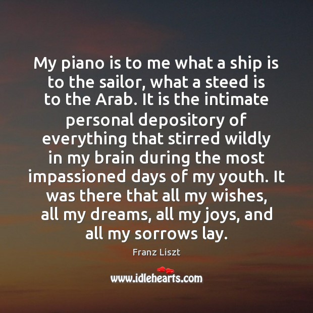My piano is to me what a ship is to the sailor, Image