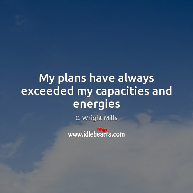 My plans have always exceeded my capacities and energies C. Wright Mills Picture Quote