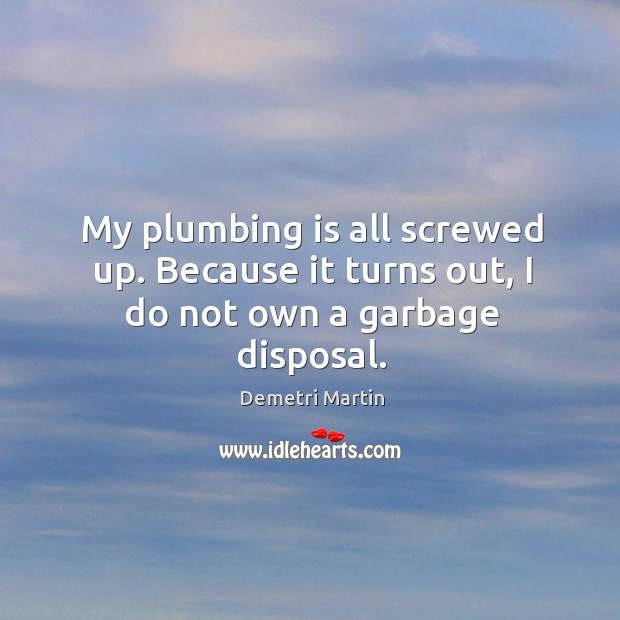Image, My plumbing is all screwed up. Because it turns out, I do not own a garbage disposal.
