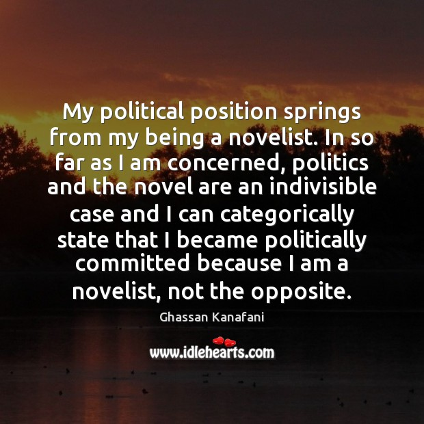 Image, My political position springs from my being a novelist. In so far