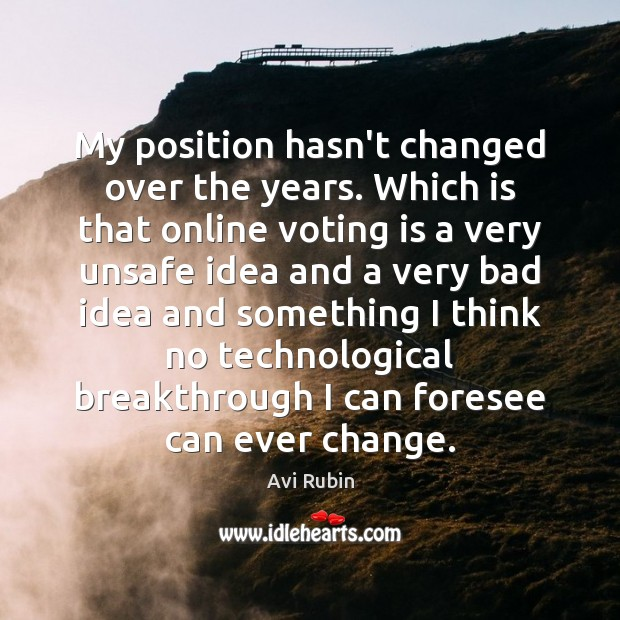 Image, My position hasn't changed over the years. Which is that online voting