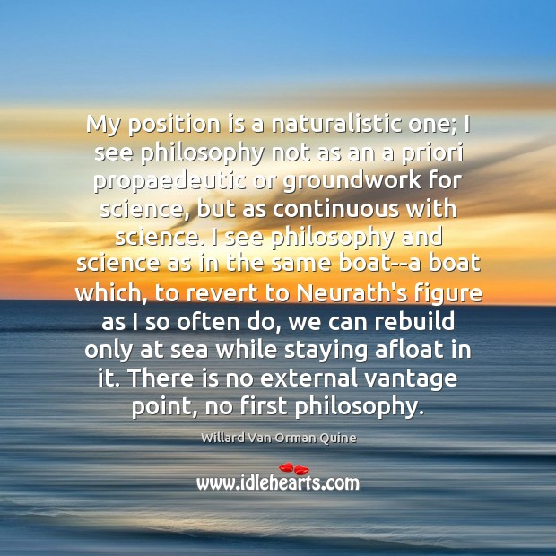 My position is a naturalistic one; I see philosophy not as an Image