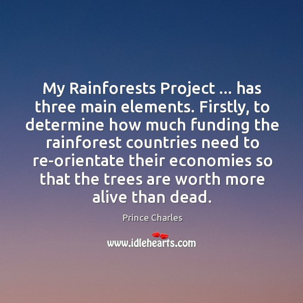 My Rainforests Project … has three main elements. Firstly, to determine how much Prince Charles Picture Quote