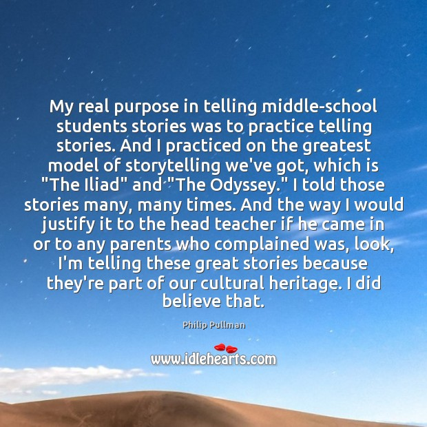 Image, My real purpose in telling middle-school students stories was to practice telling