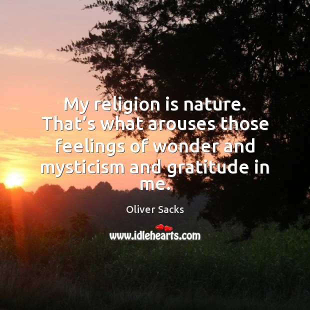 My religion is nature. That's what arouses those feelings of wonder Oliver Sacks Picture Quote