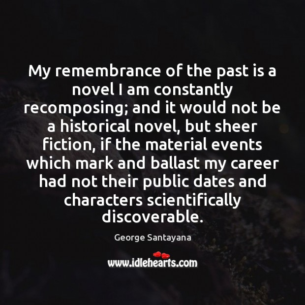 My remembrance of the past is a novel I am constantly recomposing; Past Quotes Image