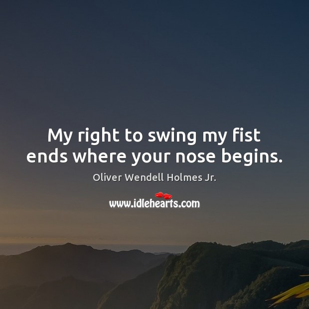 My right to swing my fist ends where your nose begins. Image