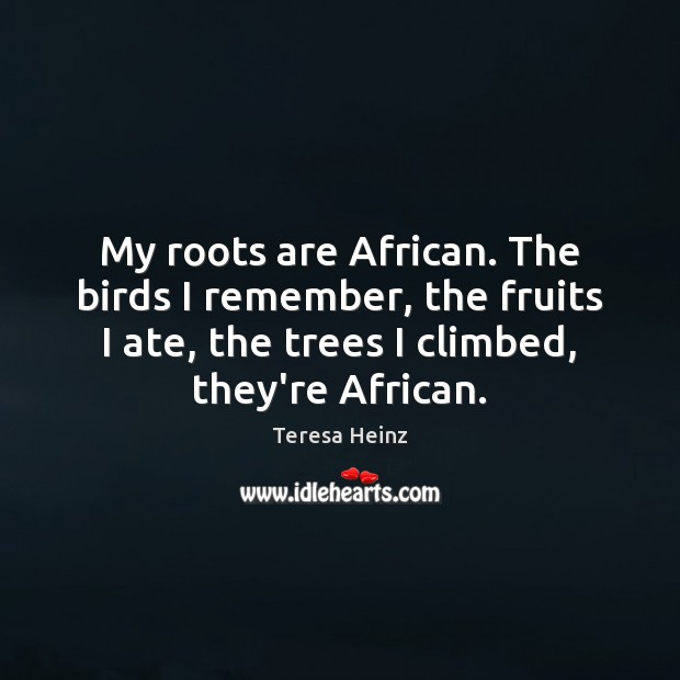 Image, My roots are African. The birds I remember, the fruits I ate,