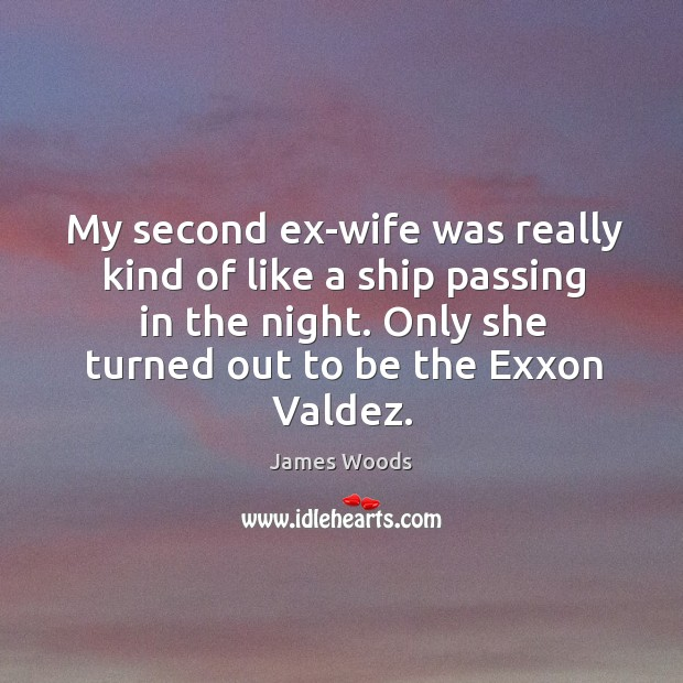 My second ex-wife was really kind of like a ship passing in the night. James Woods Picture Quote