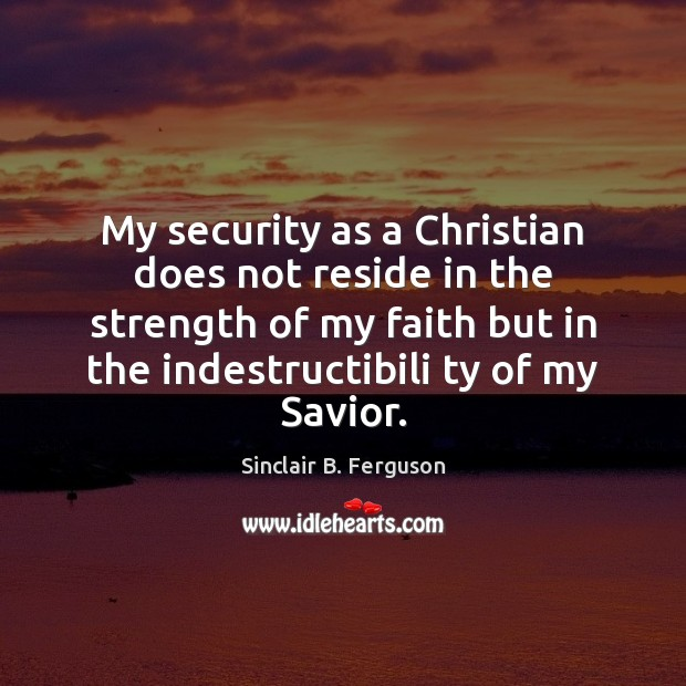 My security as a Christian does not reside in the strength of Image