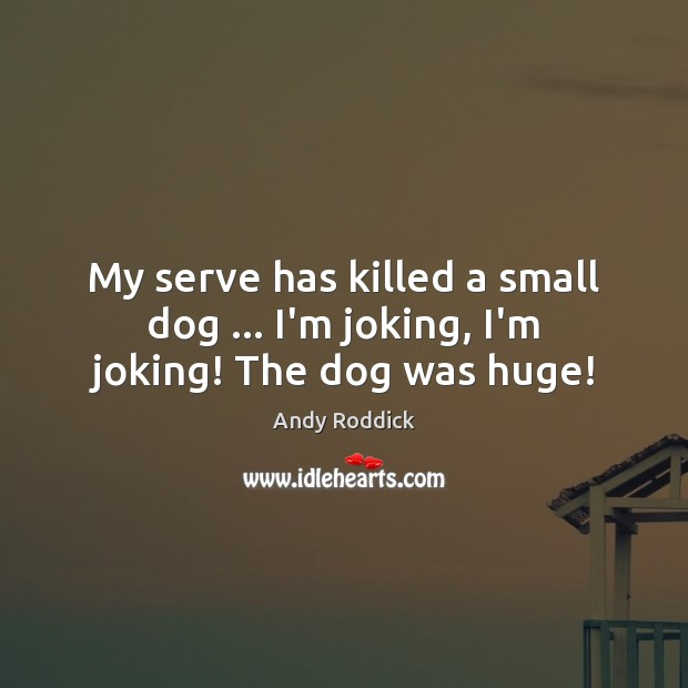 My serve has killed a small dog … I'm joking, I'm joking! The dog was huge! Andy Roddick Picture Quote