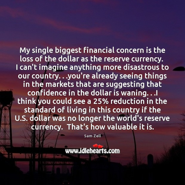 My single biggest financial concern is the loss of the dollar as Image