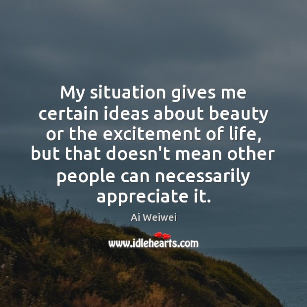 My situation gives me certain ideas about beauty or the excitement of Image