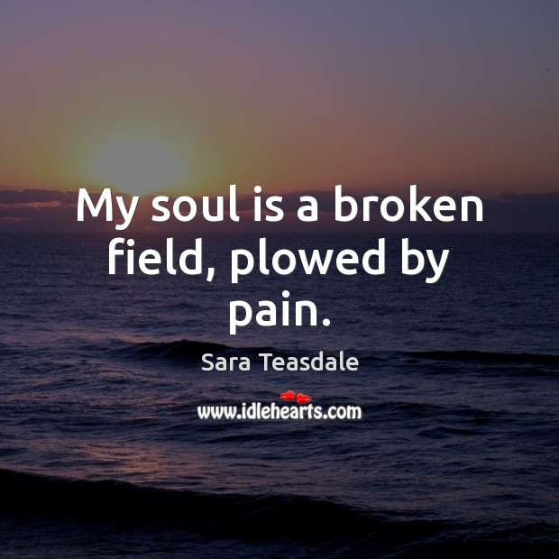 My soul is a broken field, plowed by pain. Soul Quotes Image
