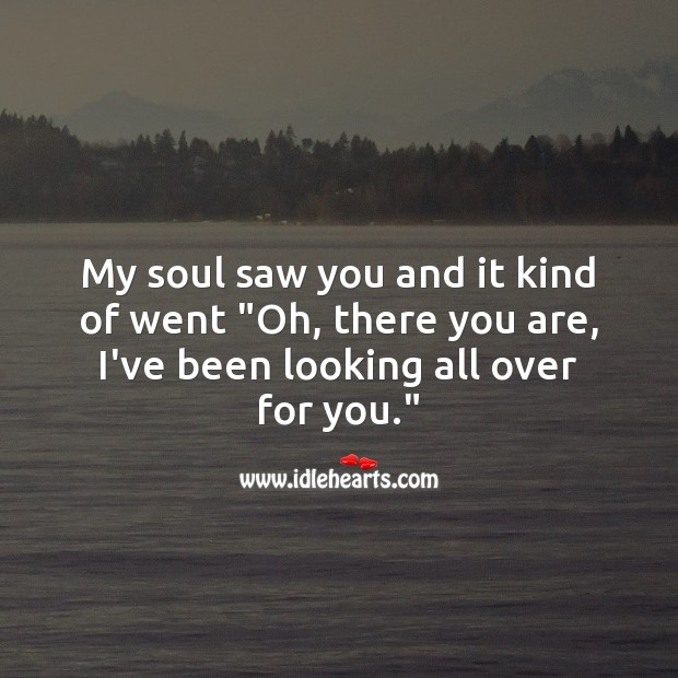 """My soul saw you and it kind of went """"Oh, there you are, I've been looking all over for you."""" Falling in Love Quotes Image"""