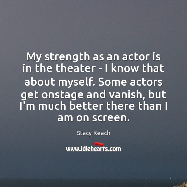 My strength as an actor is in the theater – I know Image