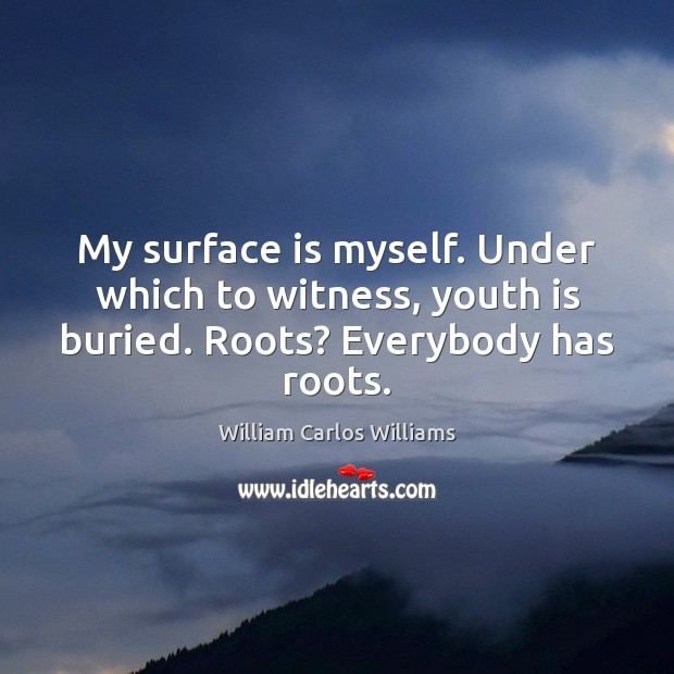 My surface is myself. Under which to witness, youth is buried. Roots? Everybody has roots. Image