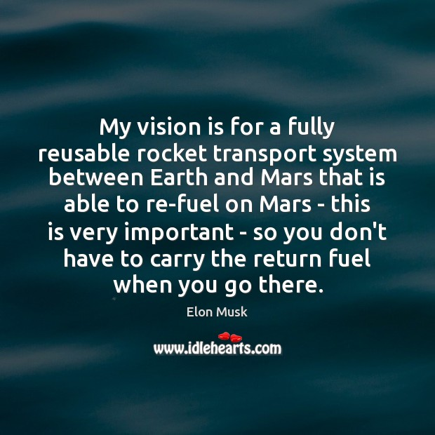 My vision is for a fully reusable rocket transport system between Earth Elon Musk Picture Quote
