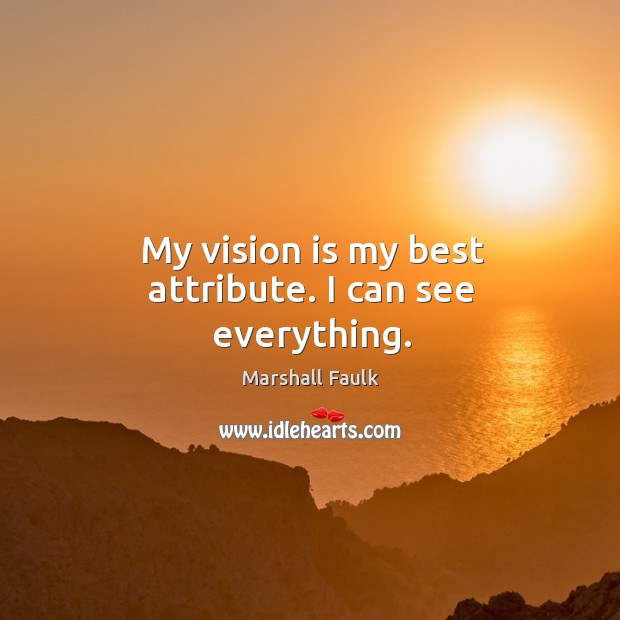 My vision is my best attribute. I can see everything. Image