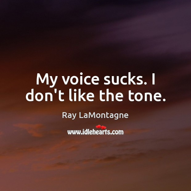 My voice sucks. I don't like the tone. Ray LaMontagne Picture Quote