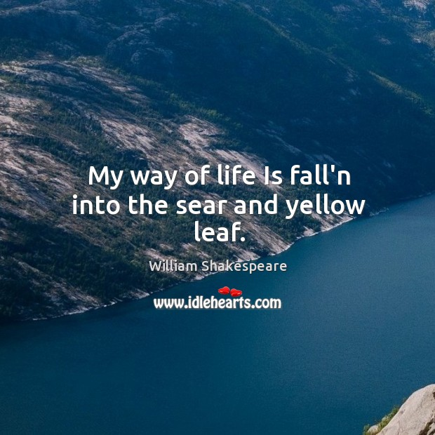 Image, My way of life Is fall'n into the sear and yellow leaf.