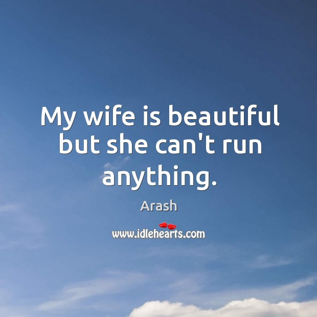 My wife is beautiful but she can't run anything. Image