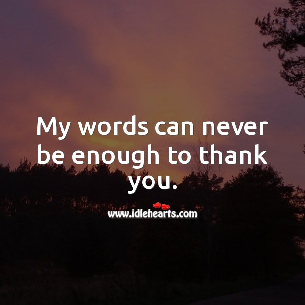 My words can never be enough to thank you. Thank You Quotes Image