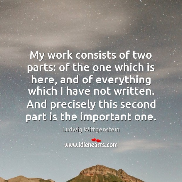 My work consists of two parts: of the one which is here, Image