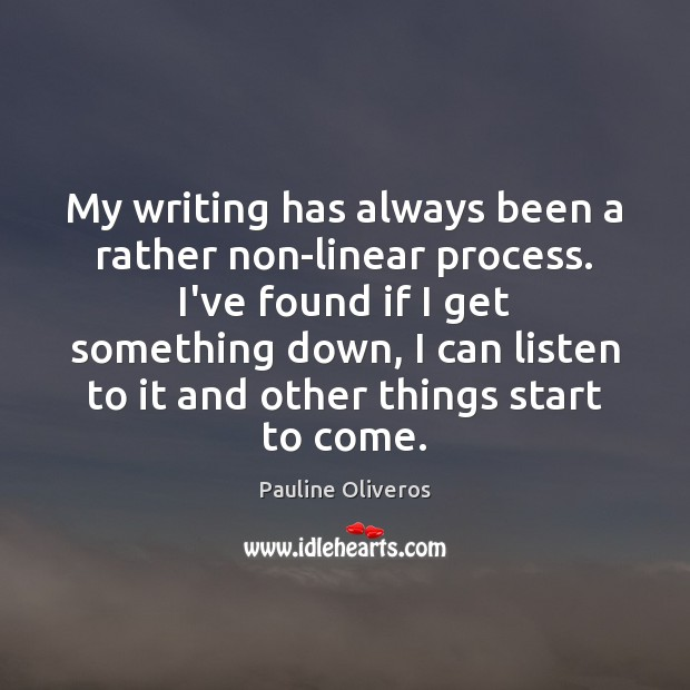 My writing has always been a rather non-linear process. I've found if Image