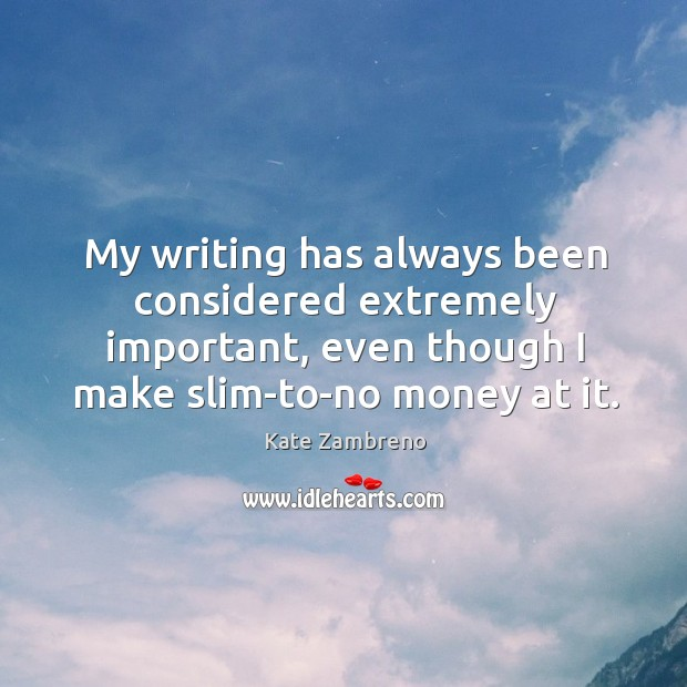 My writing has always been considered extremely important, even though I make Image