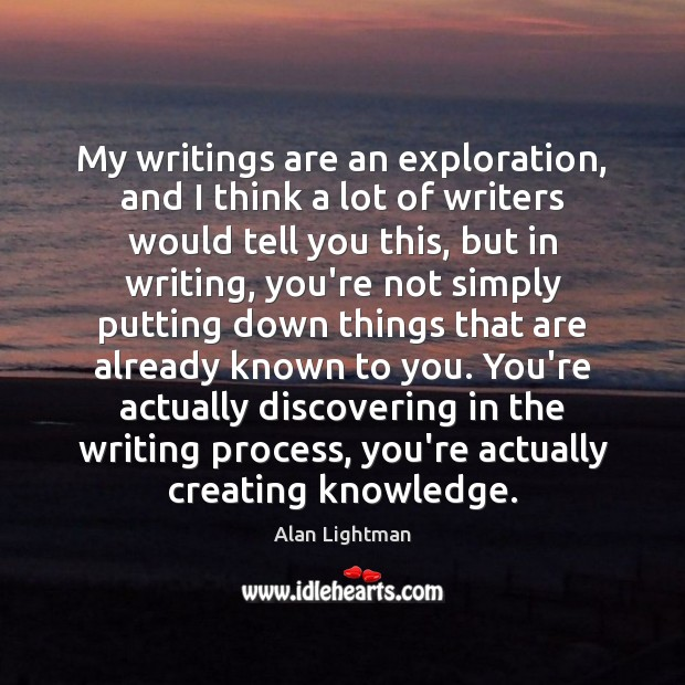 My writings are an exploration, and I think a lot of writers Image