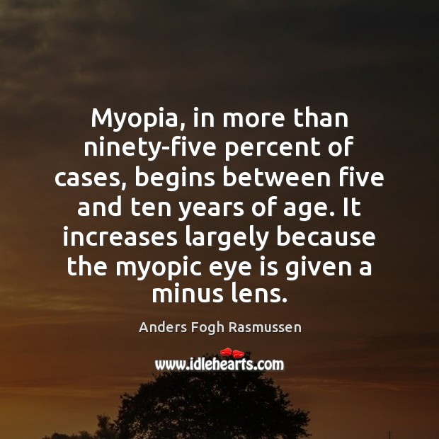 Image, Myopia, in more than ninety-five percent of cases, begins between five and