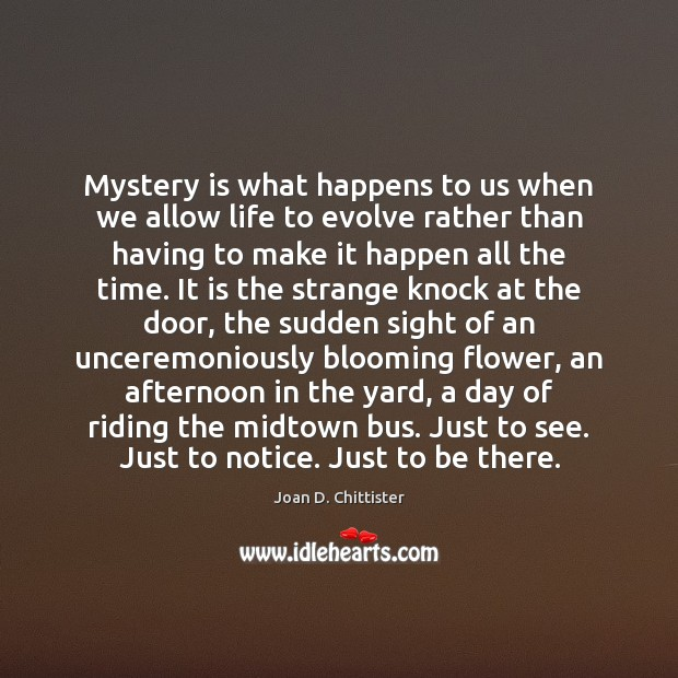 Image, Mystery is what happens to us when we allow life to evolve