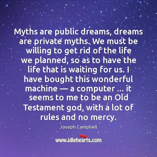 Myths are public dreams, dreams are private myths. We must be willing Joseph Campbell Picture Quote
