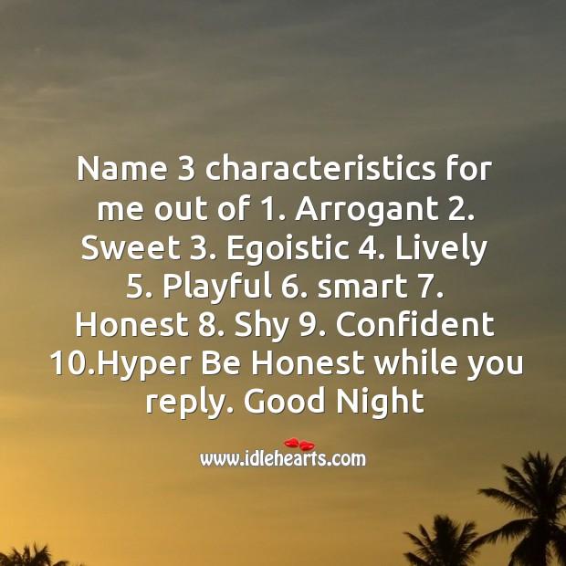 Name 3 characteristics Image
