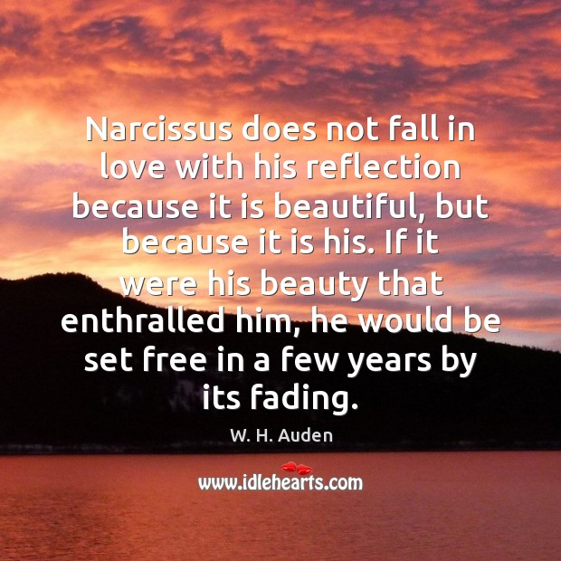 Narcissus does not fall in love with his reflection because it is Image