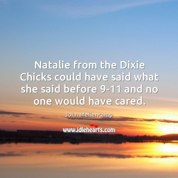 Natalie from the dixie chicks could have said what she said before 9-11 and no one would have cared. Image