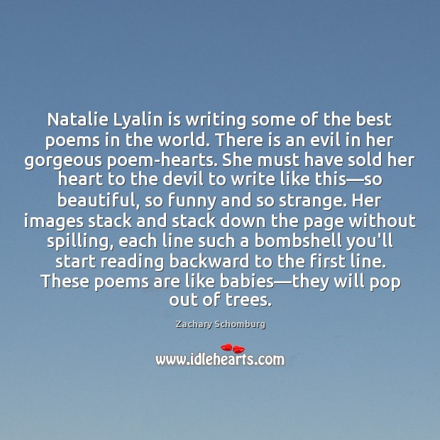Image, Natalie Lyalin is writing some of the best poems in the world.