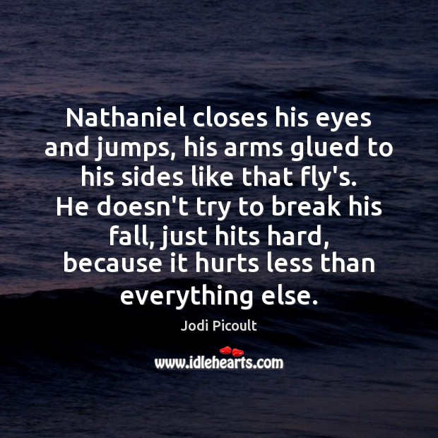 Nathaniel closes his eyes and jumps, his arms glued to his sides Image