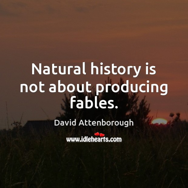 Natural history is not about producing fables. Image
