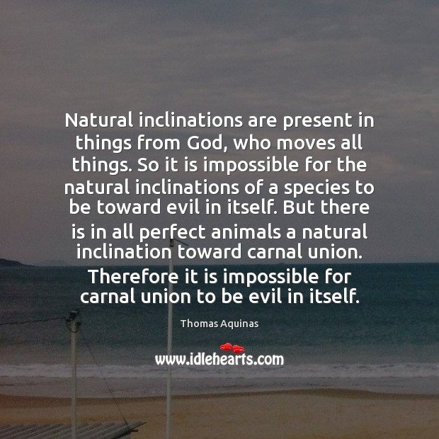 Natural inclinations are present in things from God, who moves all things. Image