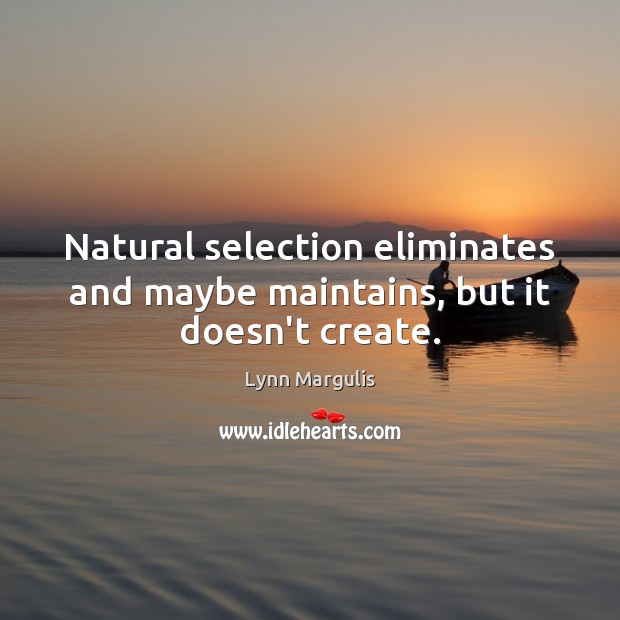 Image, Natural selection eliminates and maybe maintains, but it doesn't create.